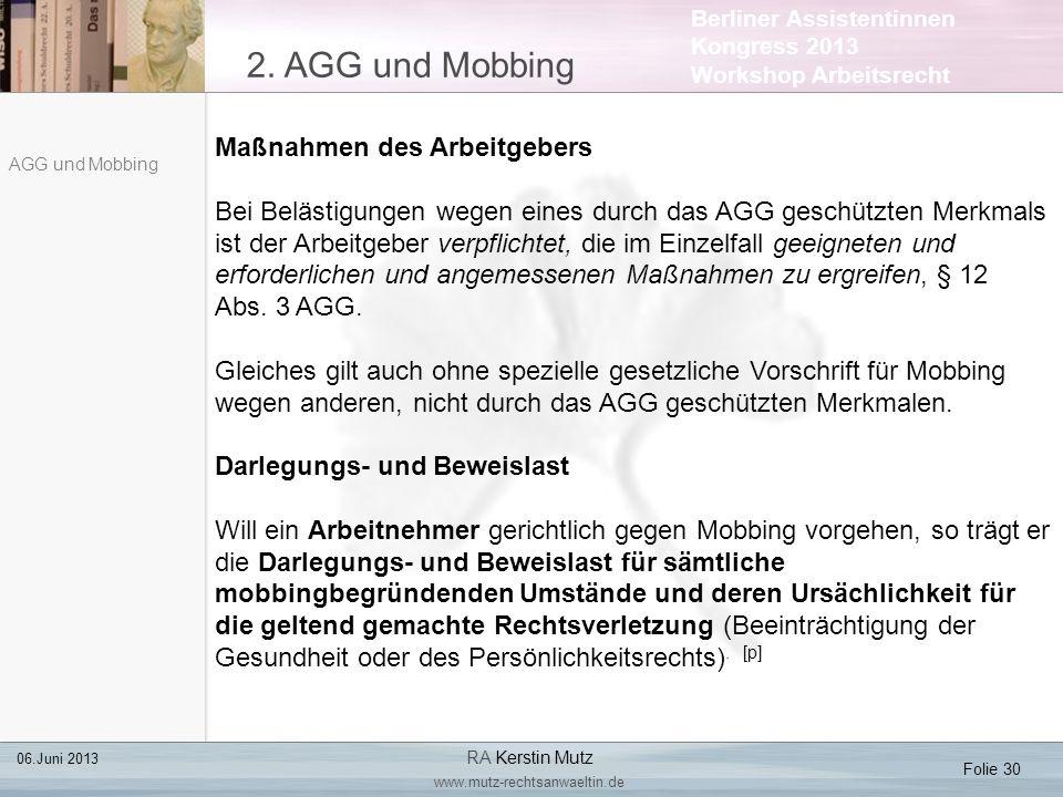 2. AGG und Mobbing Maßnahmen des Arbeitgebers
