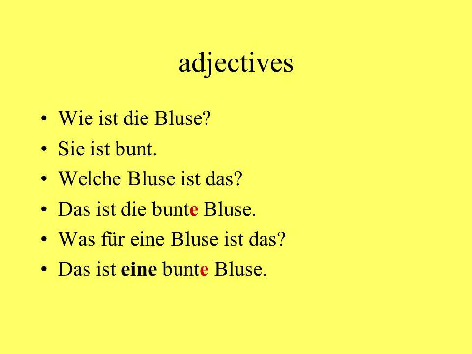 adjectives Wie ist die Bluse Sie ist bunt. Welche Bluse ist das
