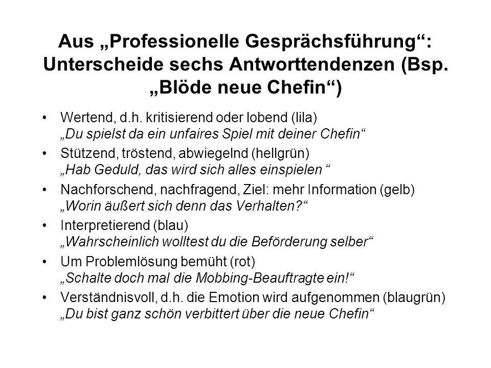 """Aus """"Professionelle Gesprächsführung : Unterscheide sechs Antworttendenzen (Bsp. """"Blöde neue Chefin )"""