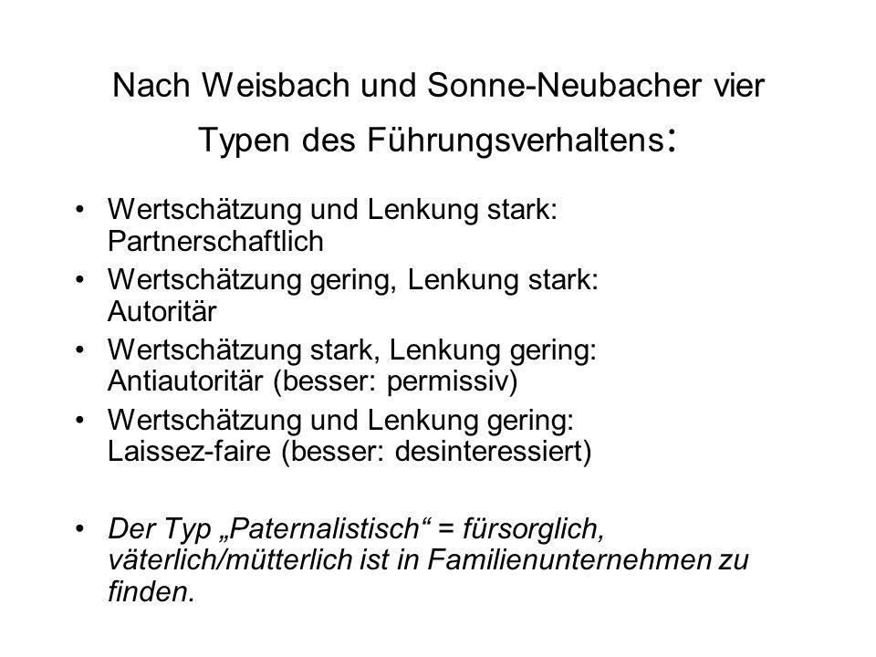 Nach Weisbach und Sonne-Neubacher vier Typen des Führungsverhaltens: