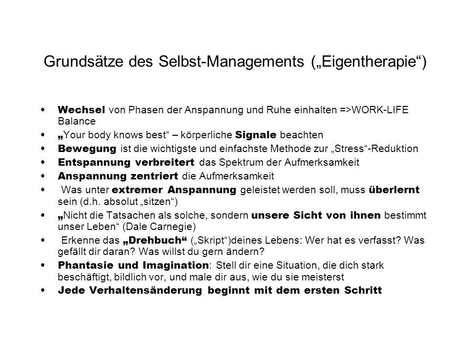 """Grundsätze des Selbst-Managements (""""Eigentherapie )"""
