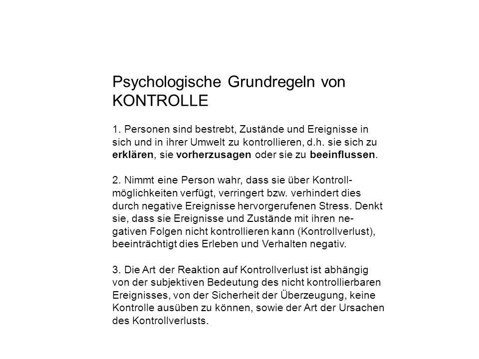 Psychologische Grundregeln von KONTROLLE