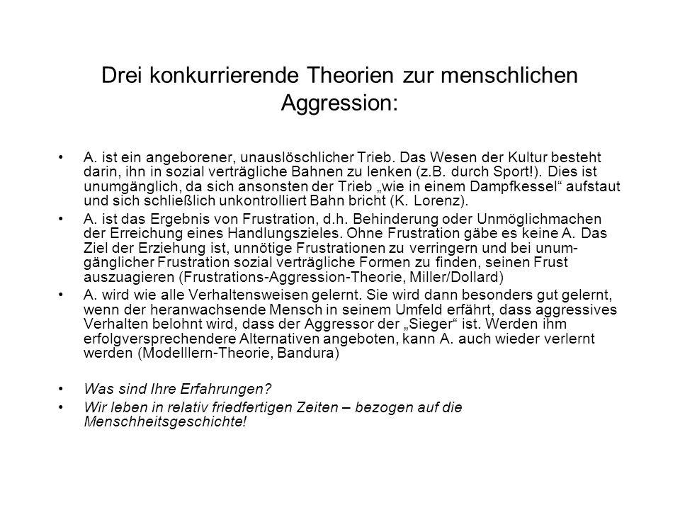 Drei konkurrierende Theorien zur menschlichen Aggression: