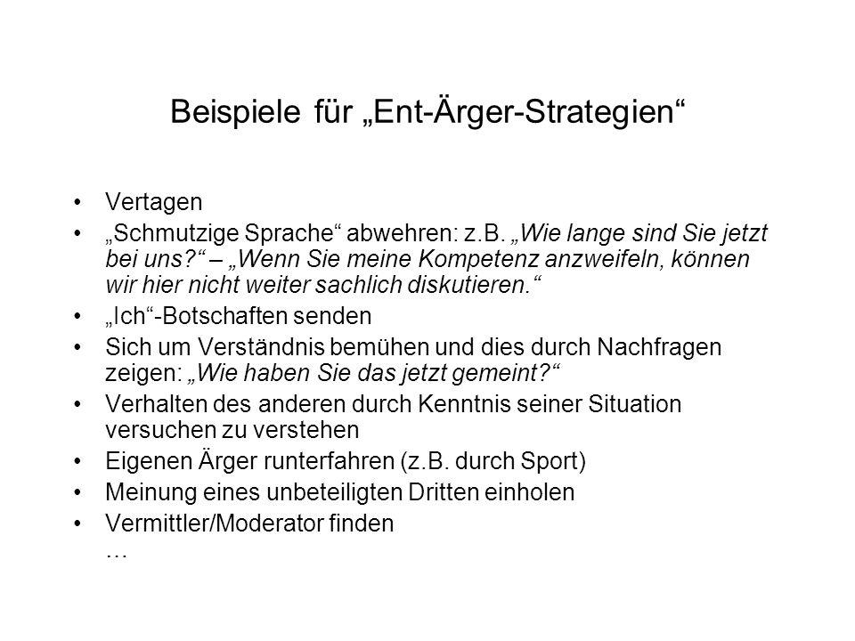 """Beispiele für """"Ent-Ärger-Strategien"""
