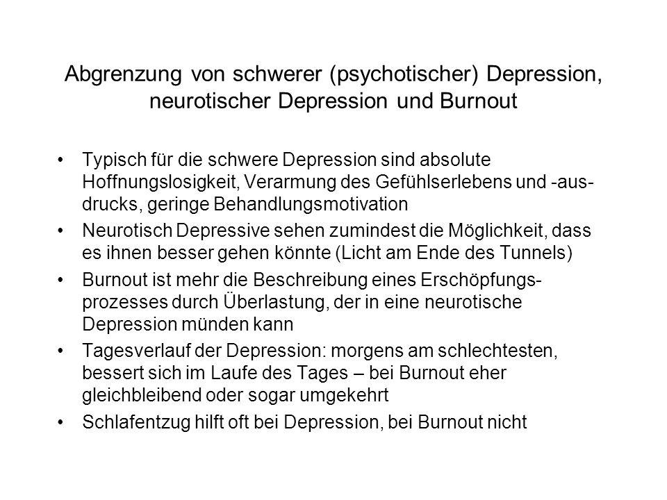 Abgrenzung von schwerer (psychotischer) Depression, neurotischer Depression und Burnout