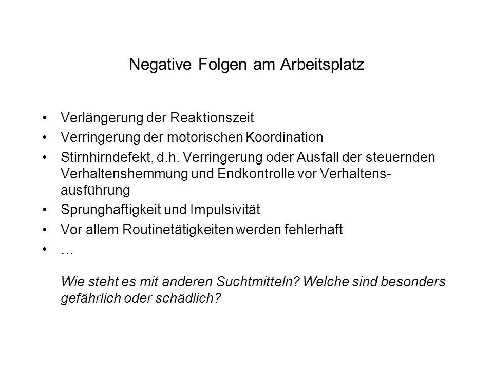 Negative Folgen am Arbeitsplatz