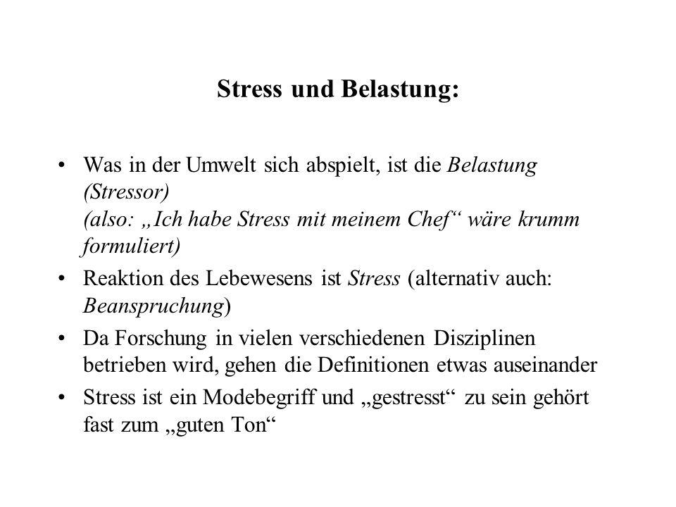 """Stress und Belastung: Was in der Umwelt sich abspielt, ist die Belastung (Stressor) (also: """"Ich habe Stress mit meinem Chef wäre krumm formuliert)"""
