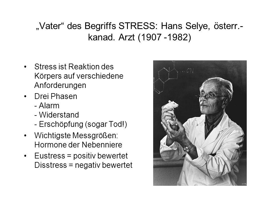 """Vater des Begriffs STRESS: Hans Selye, österr. -kanad"