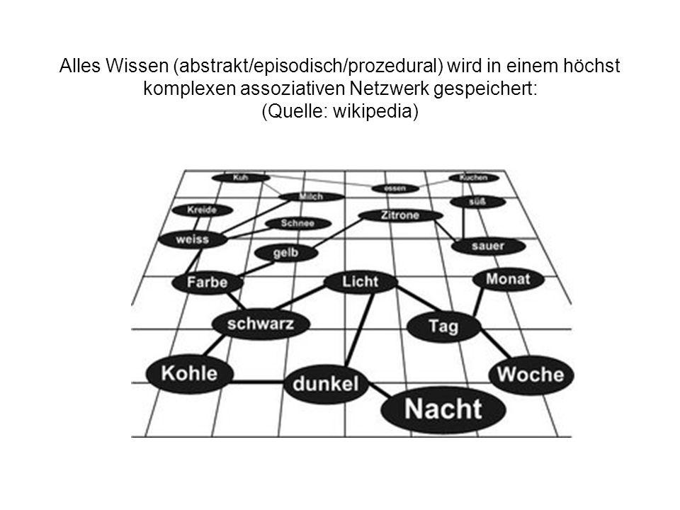 Alles Wissen (abstrakt/episodisch/prozedural) wird in einem höchst komplexen assoziativen Netzwerk gespeichert: (Quelle: wikipedia)