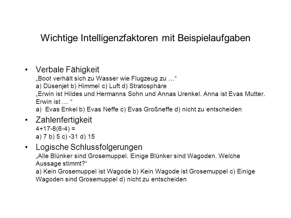 Wichtige Intelligenzfaktoren mit Beispielaufgaben