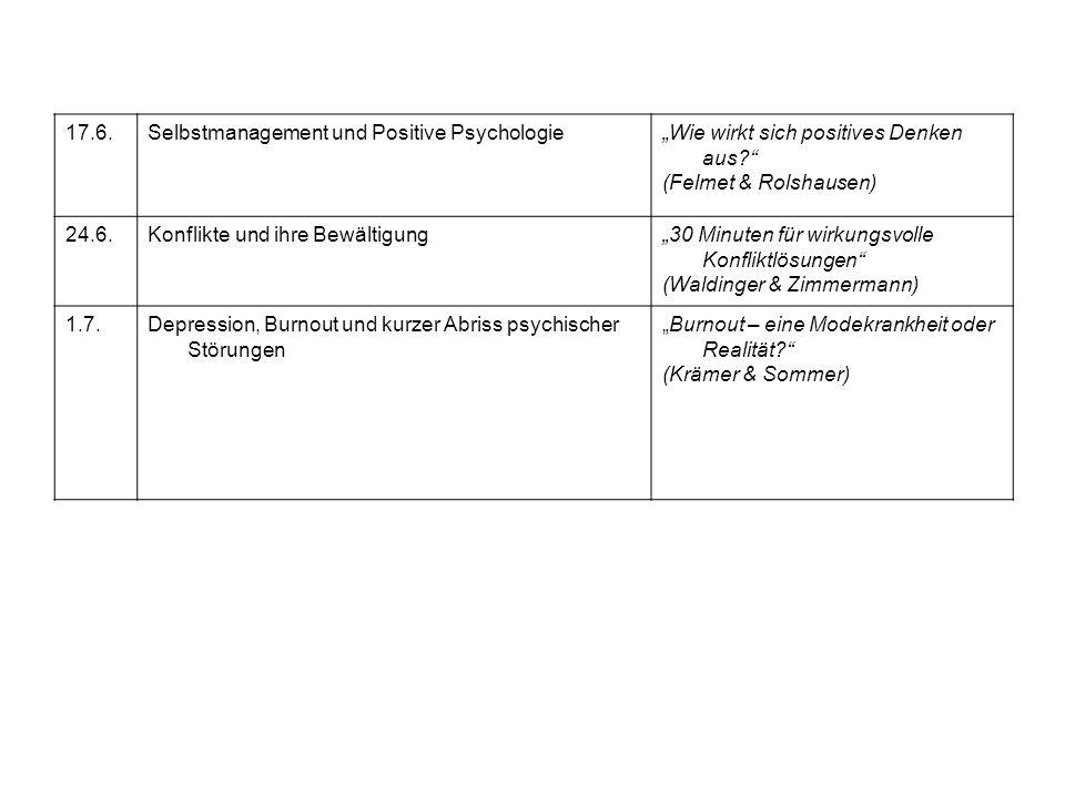 """17.6. Selbstmanagement und Positive Psychologie. """"Wie wirkt sich positives Denken aus (Felmet & Rolshausen)"""
