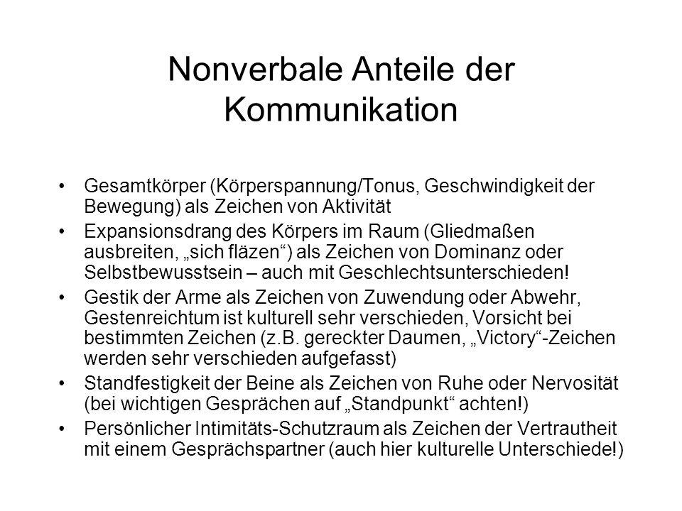 Nonverbale Anteile der Kommunikation