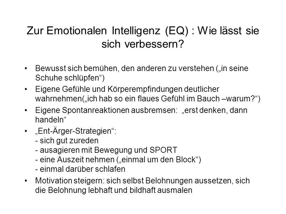 Zur Emotionalen Intelligenz (EQ) : Wie lässt sie sich verbessern