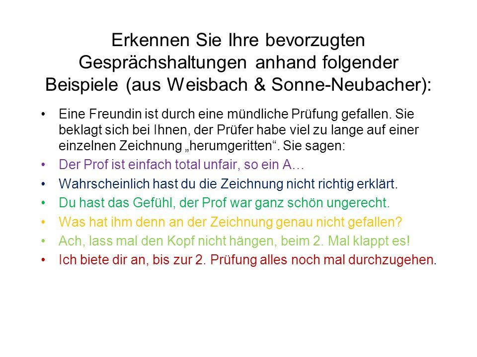 Erkennen Sie Ihre bevorzugten Gesprächshaltungen anhand folgender Beispiele (aus Weisbach & Sonne-Neubacher):