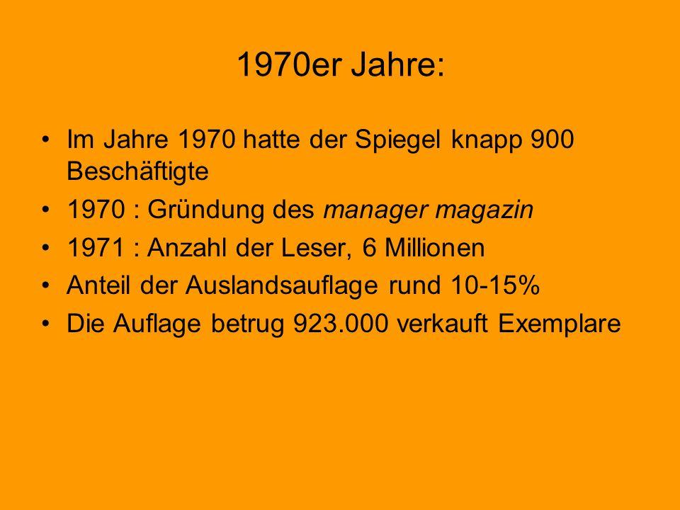 1970er Jahre: Im Jahre 1970 hatte der Spiegel knapp 900 Beschäftigte