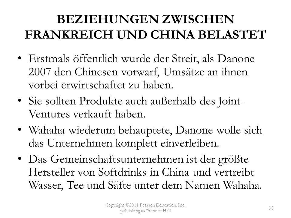 BEZIEHUNGEN ZWISCHEN FRANKREICH UND CHINA BELASTET