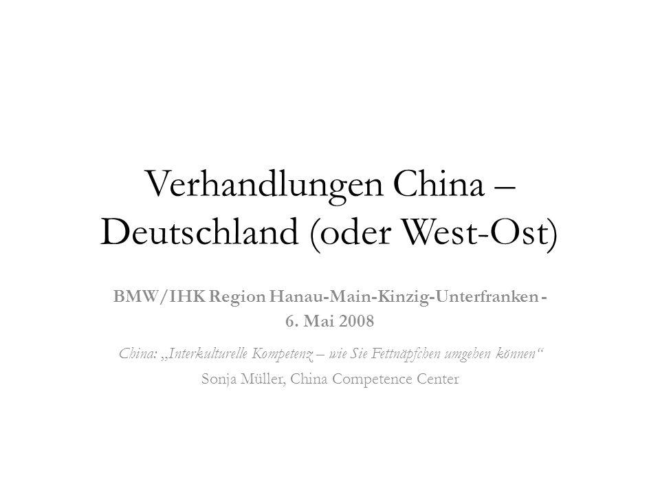 Verhandlungen China – Deutschland (oder West-Ost)