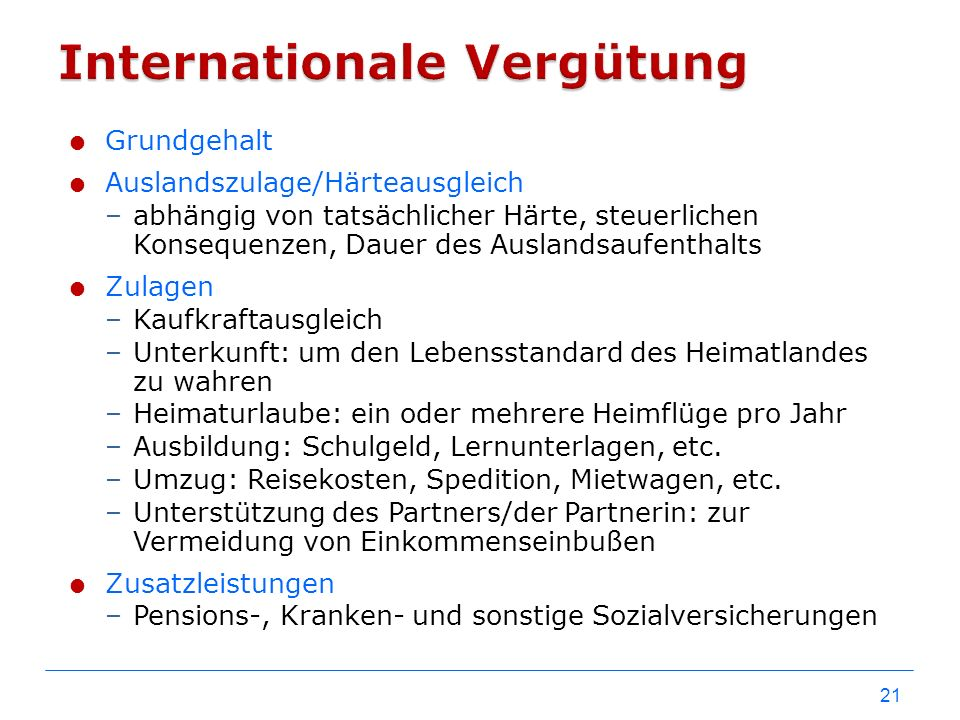 Internationale Vergütung