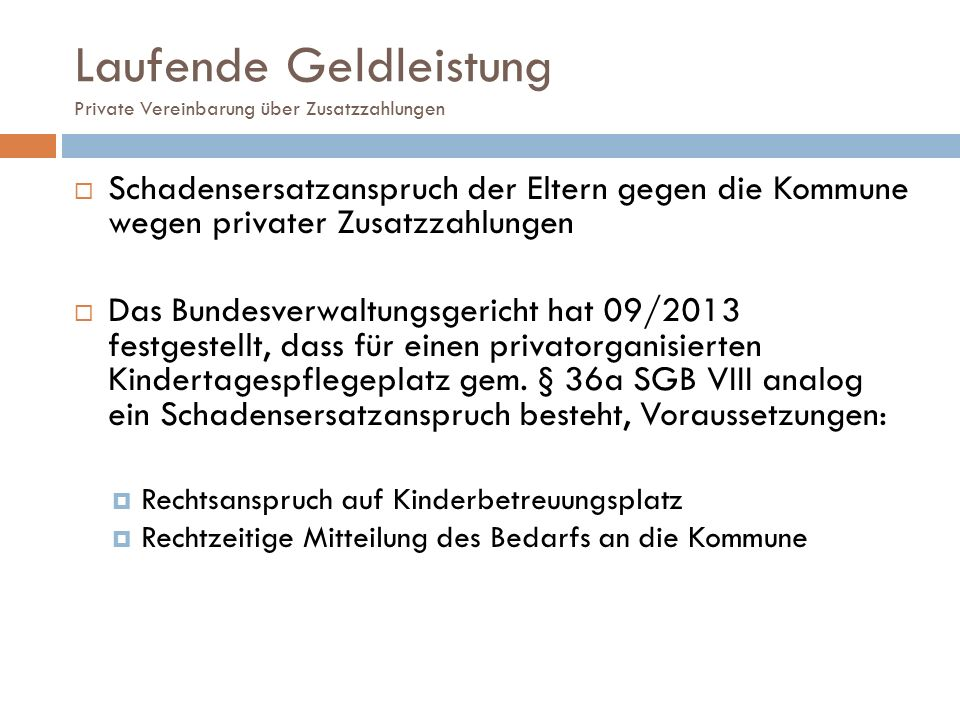 Laufende Geldleistung Private Vereinbarung über Zusatzzahlungen