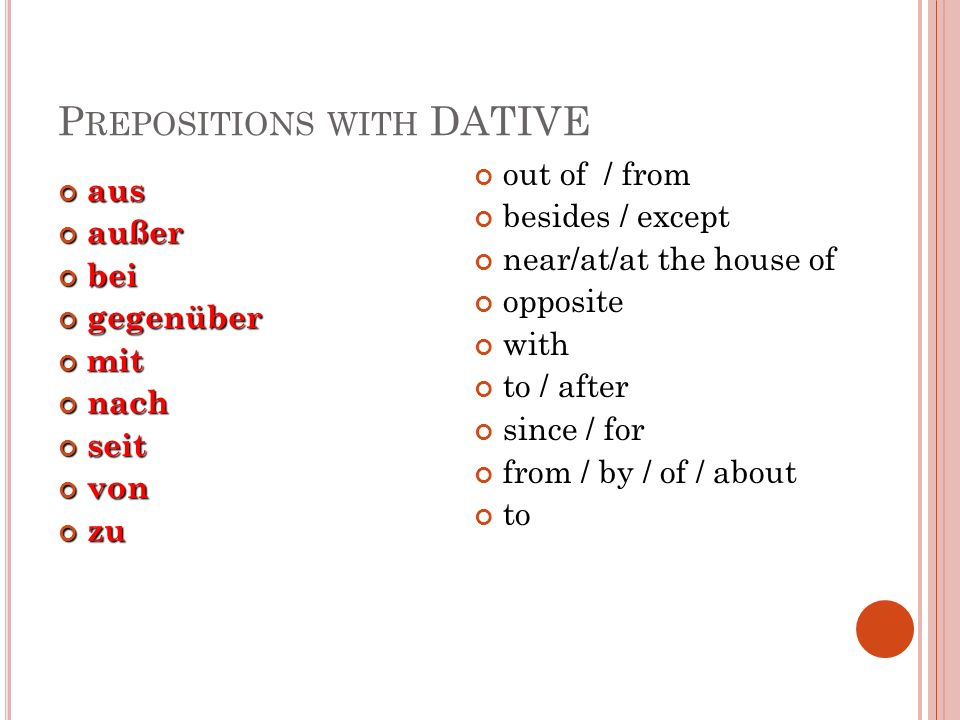 Prepositions with DATIVE