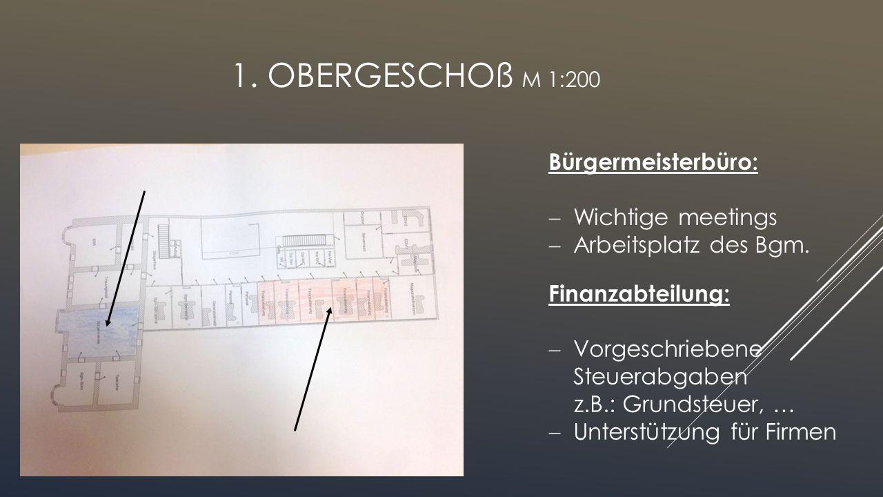 1. Obergeschoß M 1:200 Bürgermeisterbüro: Wichtige meetings