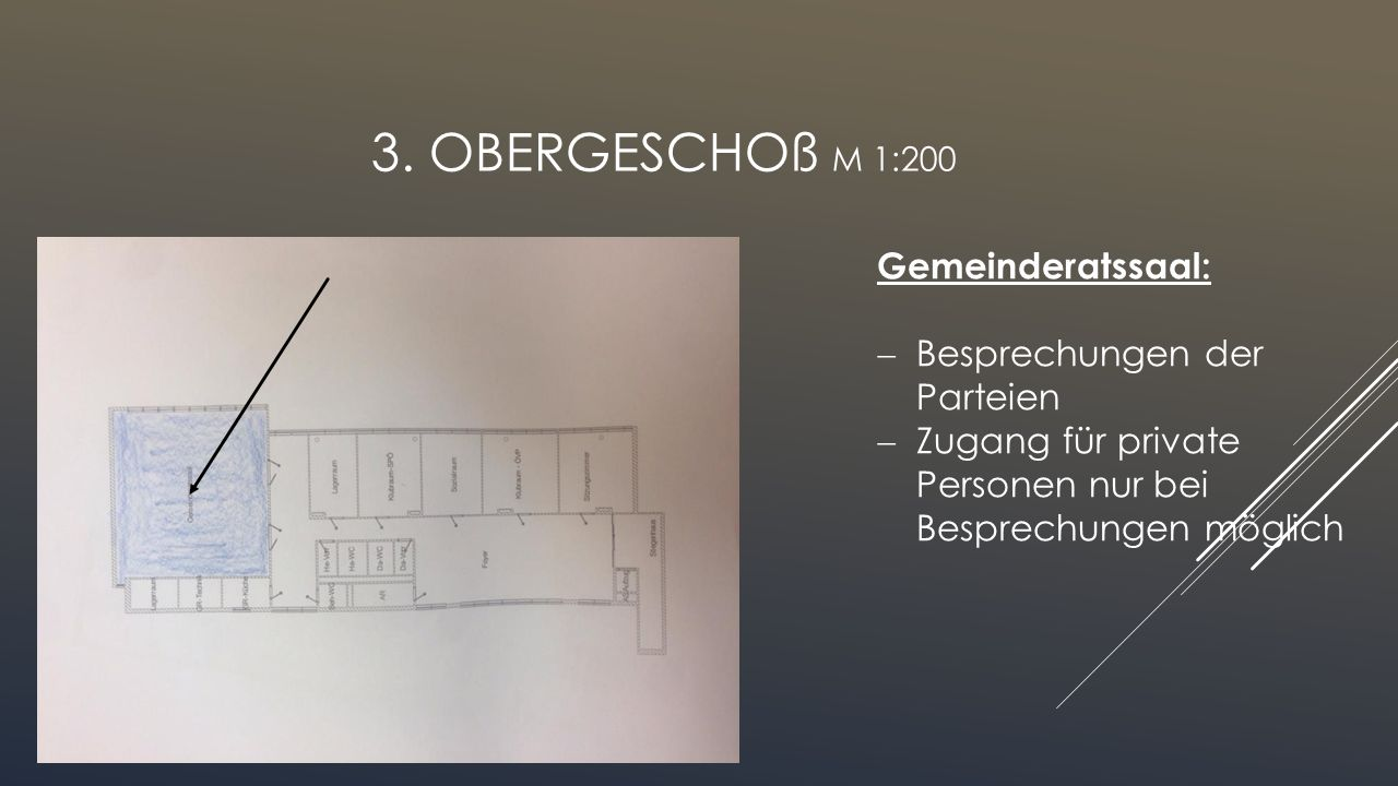 3. Obergeschoß M 1:200 Gemeinderatssaal: Besprechungen der Parteien