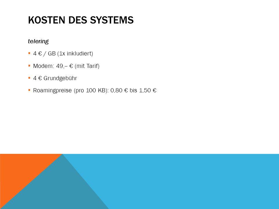 Kosten des Systems telering 4 € / GB (1x inkludiert)