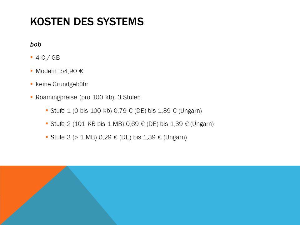 Kosten des Systems bob 4 € / GB Modem: 54,90 € keine Grundgebühr