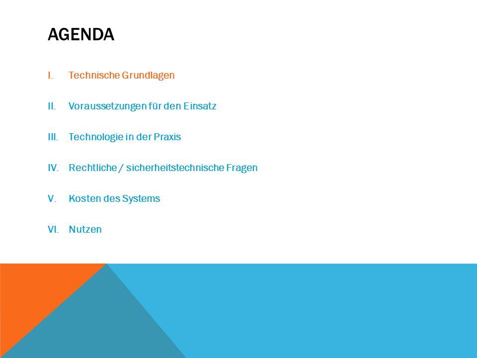 Agenda Technische Grundlagen Voraussetzungen für den Einsatz