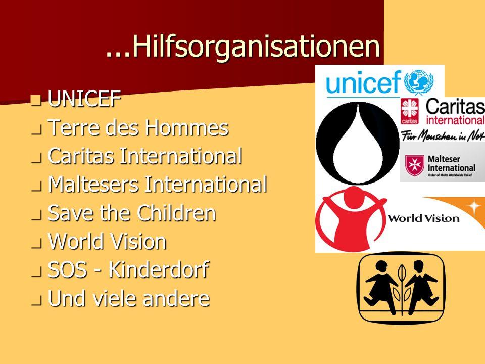 ...Hilfsorganisationen UNICEF Terre des Hommes Caritas International
