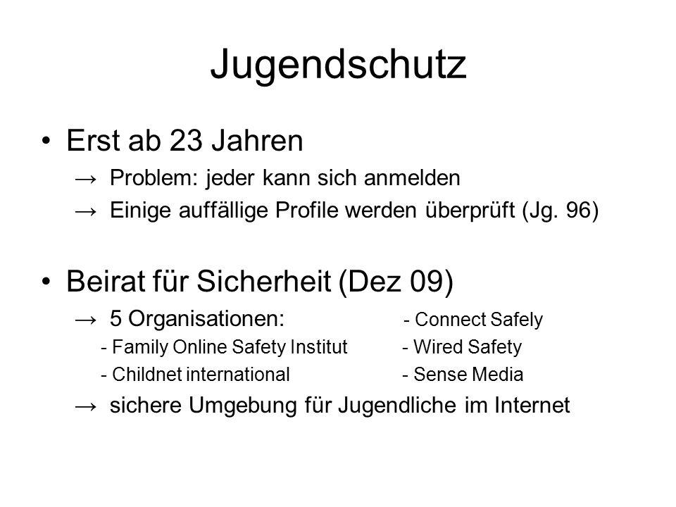Jugendschutz Erst ab 23 Jahren Beirat für Sicherheit (Dez 09)