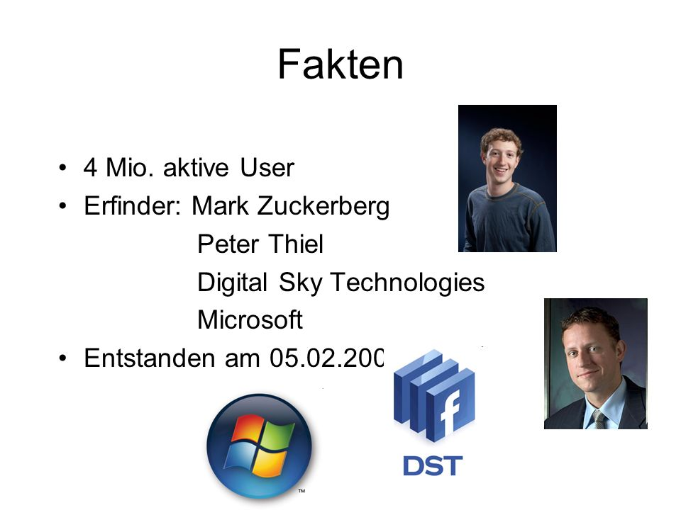 Fakten 4 Mio. aktive User Erfinder: Mark Zuckerberg Peter Thiel