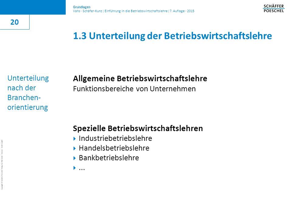 1.3 Unterteilung der Betriebswirtschaftslehre