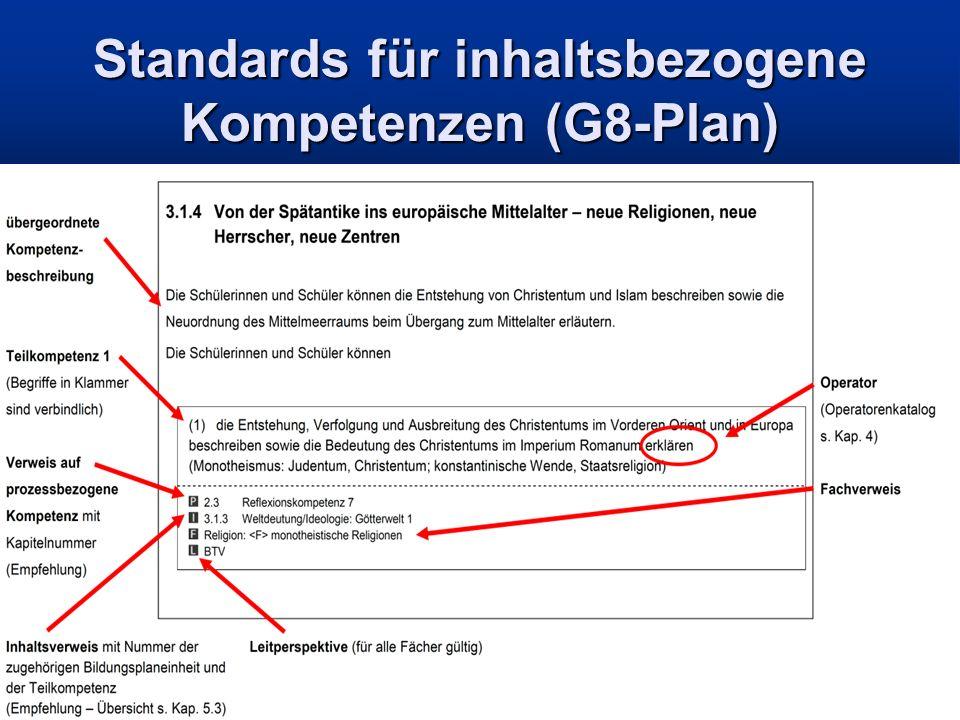 Standards für inhaltsbezogene Kompetenzen (G8-Plan)