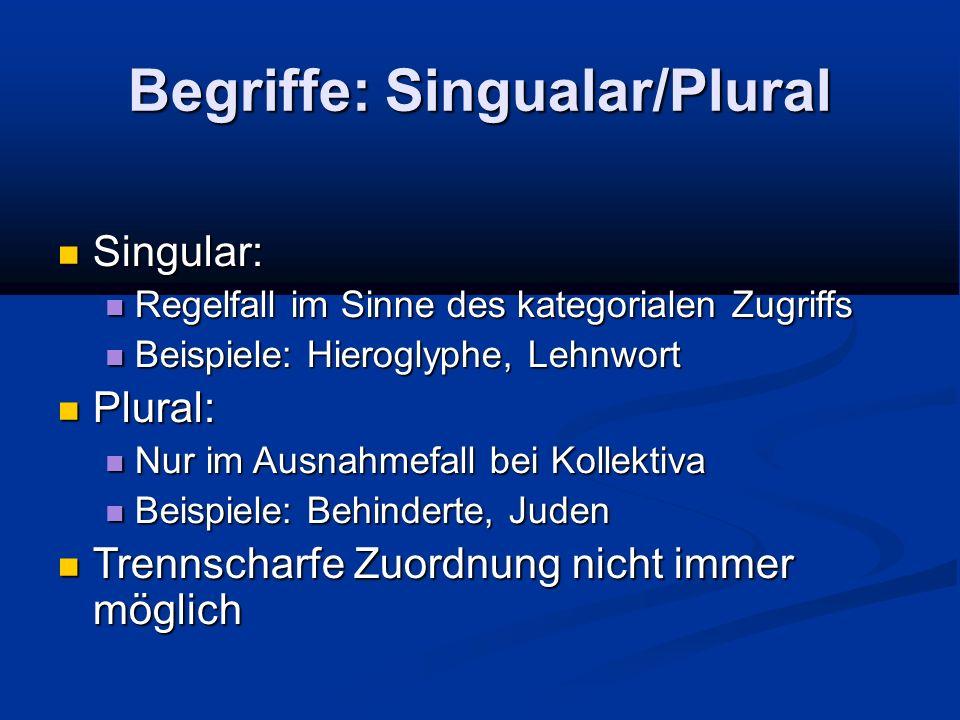 Begriffe: Singualar/Plural