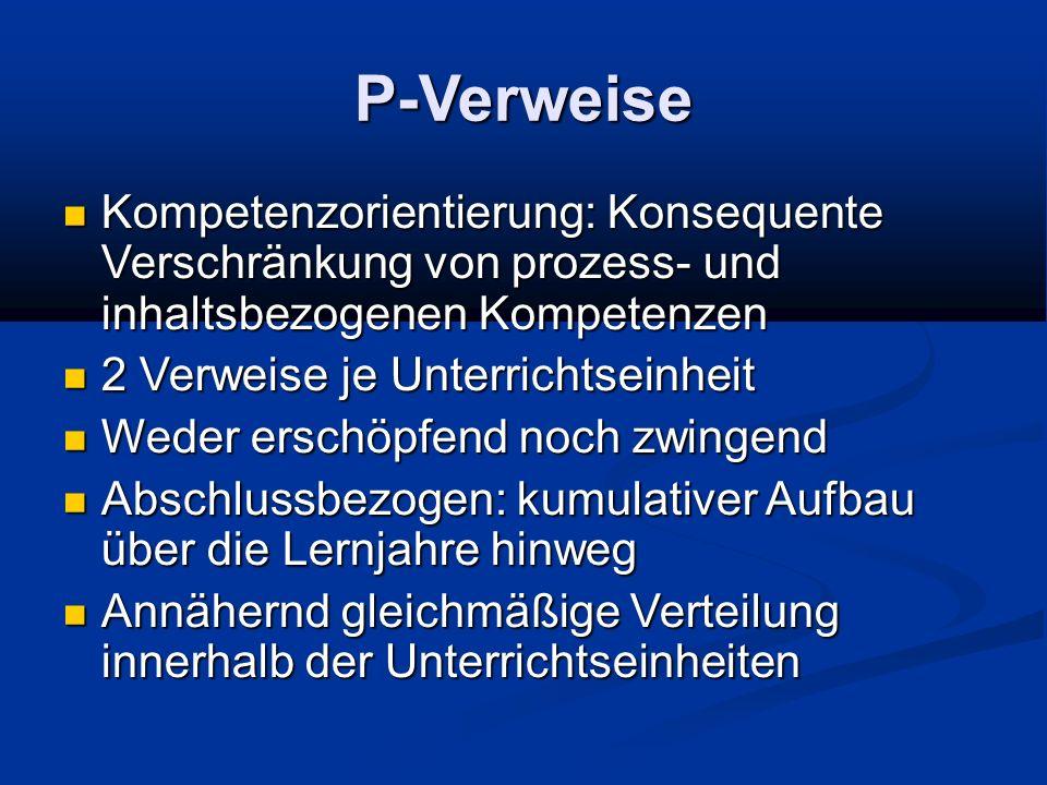 P-Verweise Kompetenzorientierung: Konsequente Verschränkung von prozess- und inhaltsbezogenen Kompetenzen.