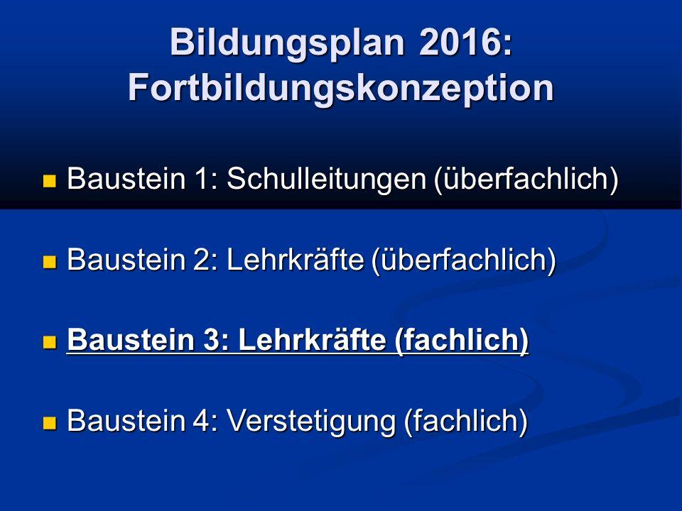 Bildungsplan 2016: Fortbildungskonzeption