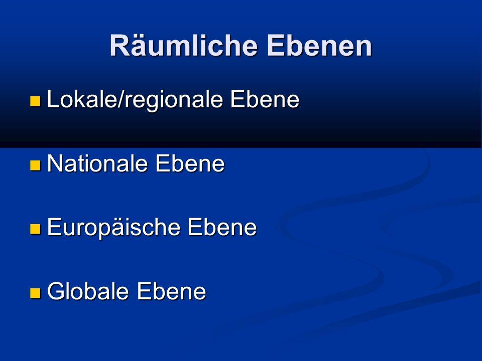 Räumliche Ebenen Lokale/regionale Ebene Nationale Ebene