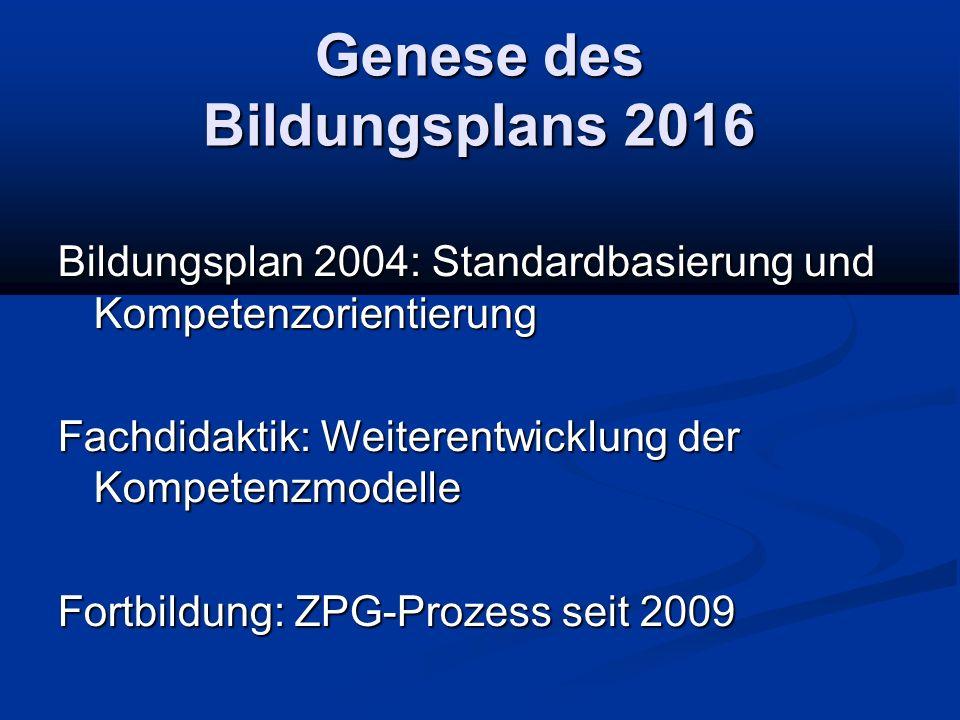 Genese des Bildungsplans 2016