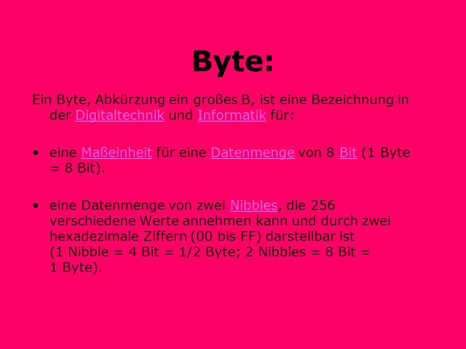 Byte: Ein Byte, Abkürzung ein großes B, ist eine Bezeichnung in der Digitaltechnik und Informatik für: