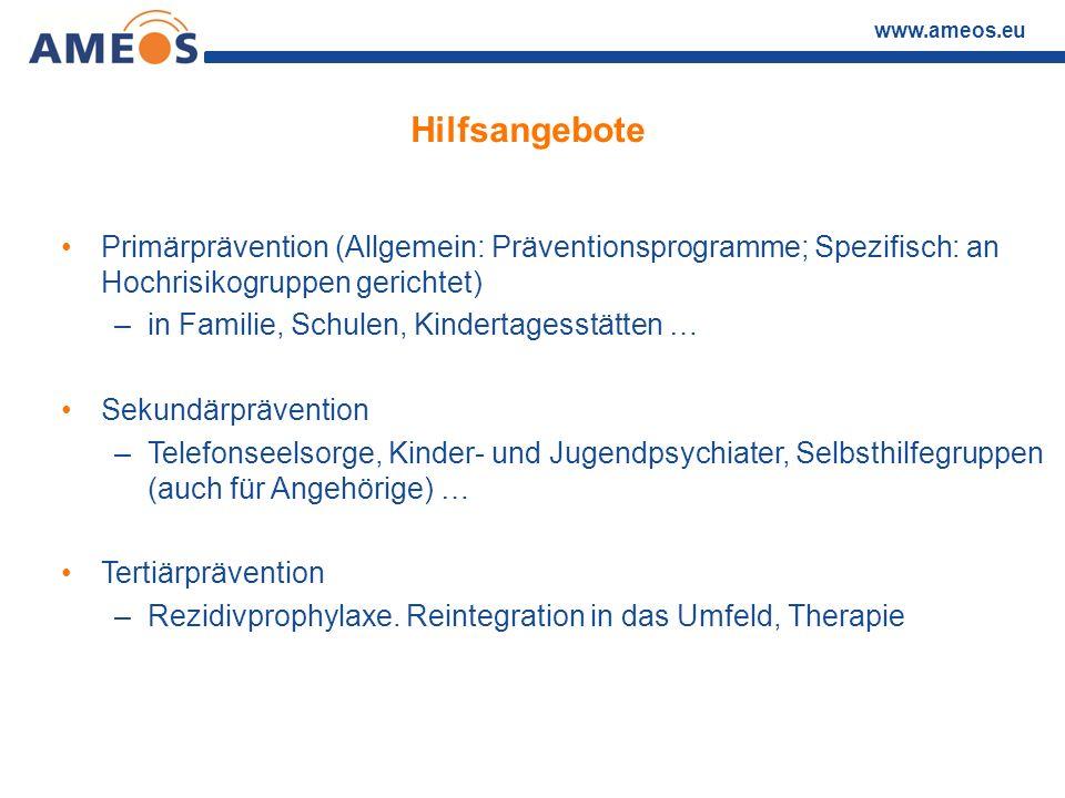 Hilfsangebote Primärprävention (Allgemein: Präventionsprogramme; Spezifisch: an Hochrisikogruppen gerichtet)