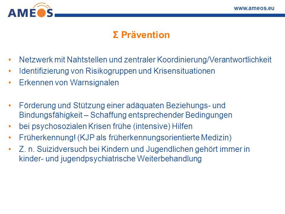 Σ Prävention Netzwerk mit Nahtstellen und zentraler Koordinierung/Verantwortlichkeit. Identifizierung von Risikogruppen und Krisensituationen.