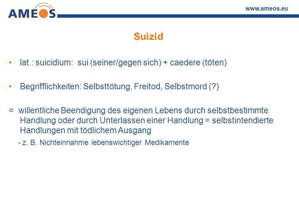 Suizid lat.: suicidium: sui (seiner/gegen sich) + caedere (töten)