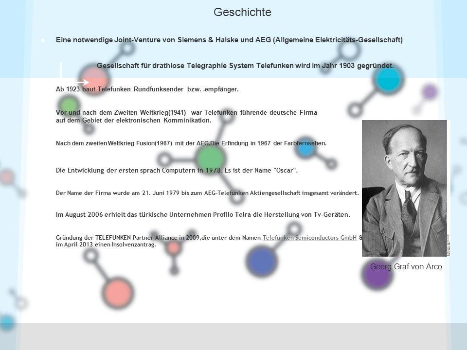 Geschichte Eine notwendige Joint-Venture von Siemens & Halske und AEG (Allgemeine Elektricitäts-Gesellschaft)
