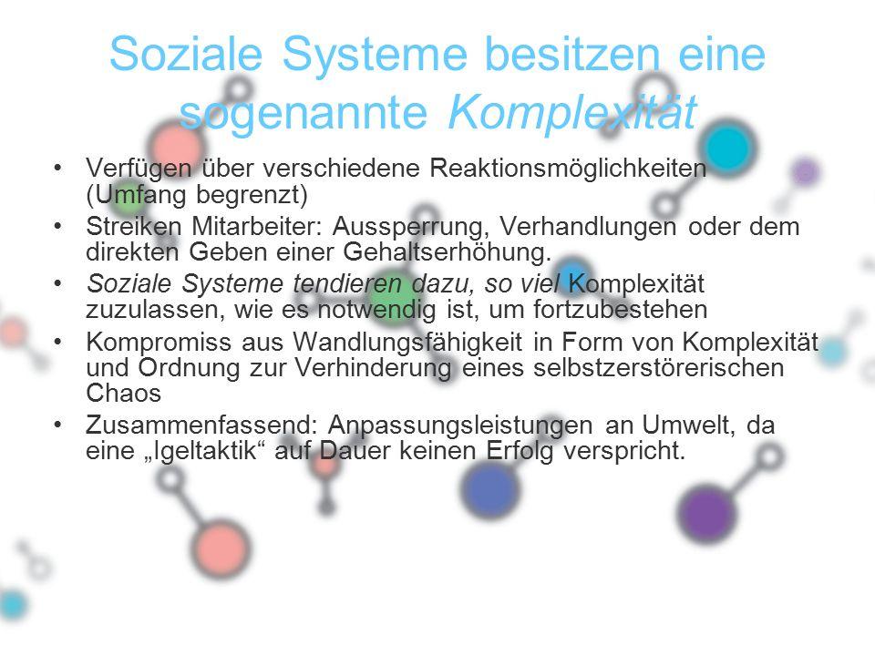 Soziale Systeme besitzen eine sogenannte Komplexität