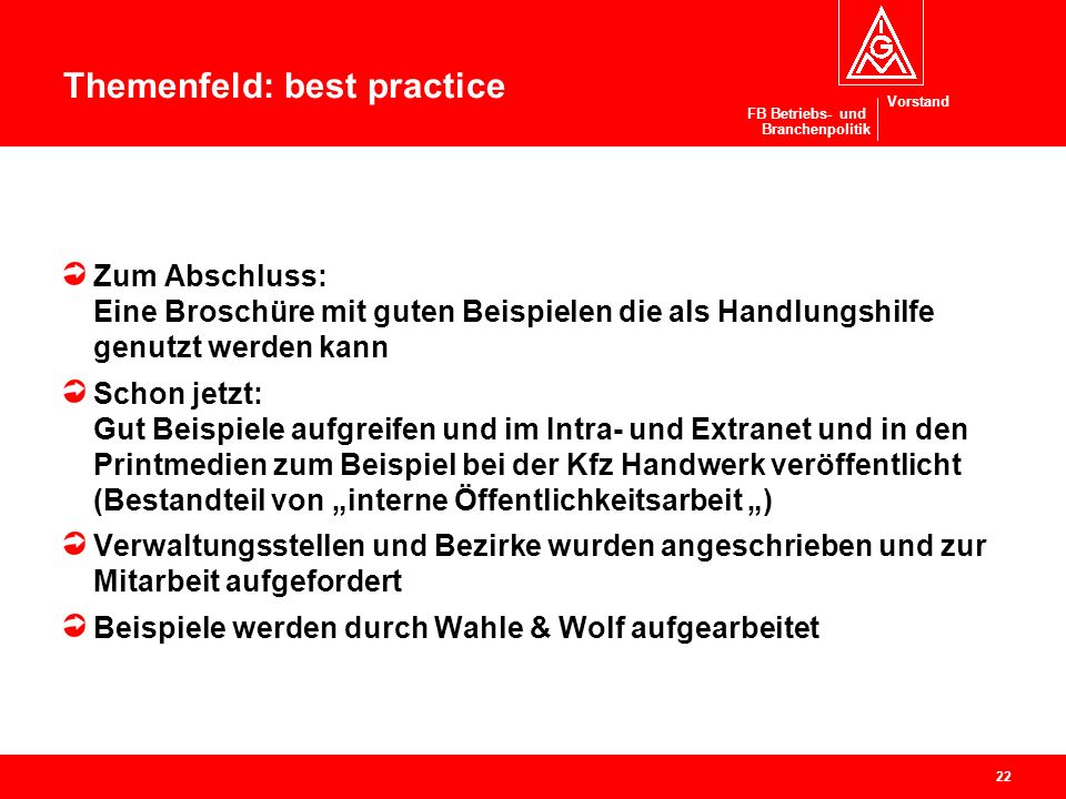 Themenfeld: best practice