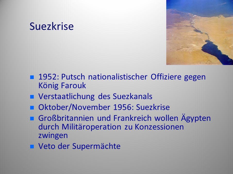 Suezkrise 1952: Putsch nationalistischer Offiziere gegen König Farouk