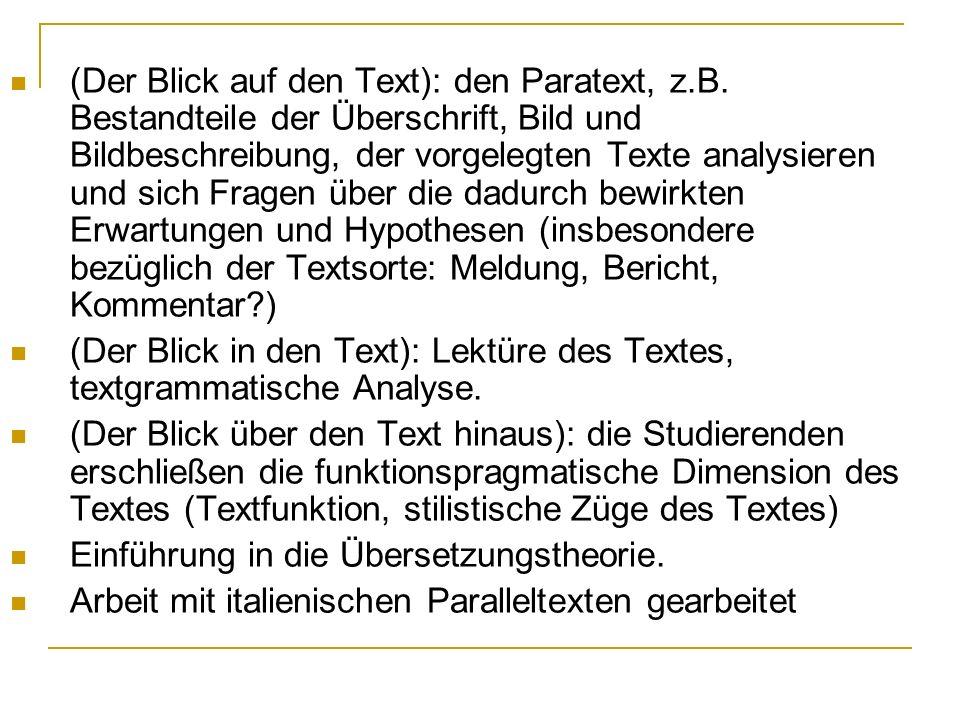 (Der Blick auf den Text): den Paratext, z. B