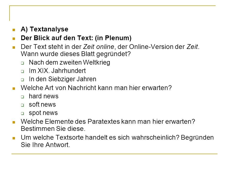 Der Blick auf den Text: (in Plenum)