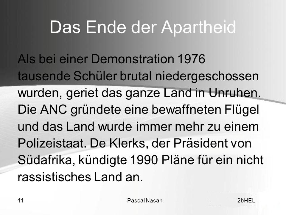 Das Ende der Apartheid Als bei einer Demonstration 1976